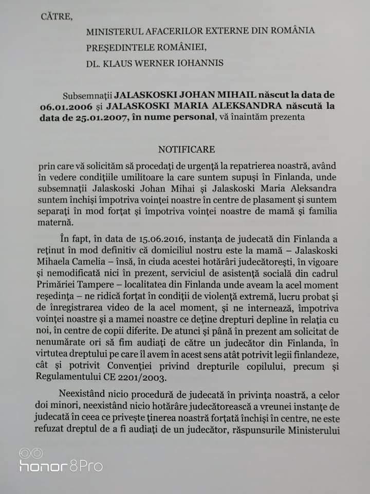 Copiii Cameliei Smicală abuzați de autoritățile finlandeze somează MAE și Președinția României să dispună repatrierea lor de urgență. Platforma Împreună protestează pe 27 iulie în Piața Constituției pentru Sorina și toți copiii români | ActiveNews