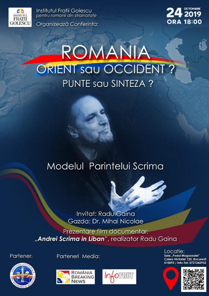 România, Orient sau Occident? Punte sau Sinteză? Eveniment dedicat Părintelui Scrima la București – România Breaking News – RBN Press