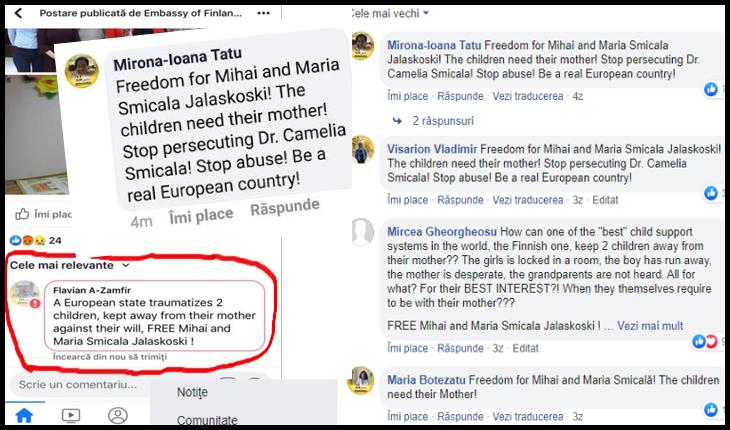 PROTEST al românilor pe pagina de facebook a Ambasadei Finlandei, pentru cazul Smicala - Glasul.info